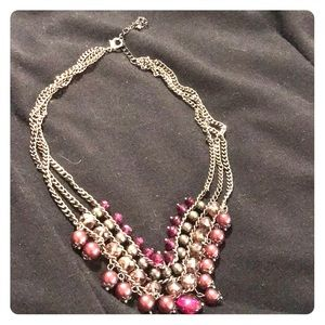 Chaps silver necklace with three rows of beads